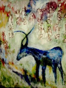 Dream along dream path (blue), acrílico.